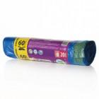 Мешки для мусора на 60л 20шт/25 с завязками Paterra
